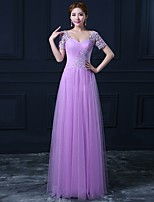 Formal Evening Dress A-line Sweetheart Floor-length Tulle with Appliques
