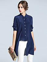AFOLD® Women's Shirt Collar Long Sleeve Shirt & Blouse Blue-5266