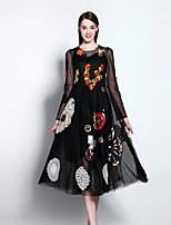 Boutique S Women's Going out Sophisticated Swing Dress,Embroidered Round Neck Midi Long Sleeve Black Polyester Summer