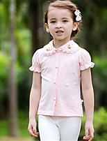 Girl's Casual/Daily Solid Tee,Cotton Summer Pink / White