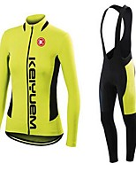 KEIYUEM® Winter Thermal fleece Long Sleeve Cycling Jersey+Long Bib Tights Ropa Ciclismo Cycling Clothing Suits #W47