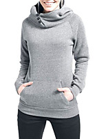 Women's Casual/Daily Simple Hoodies Solid Blue / Black / Gray / Green Cotton