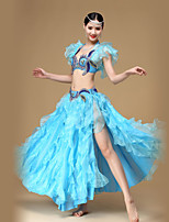 Belly Dance Outfits Women's Performance Cotton / Polyester / Organza Crystals/Rhinestones /Ruched / Split Front 2 Piece