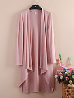 Women's Casual/Daily Simple Trench Coat,Solid V Neck Long Sleeve Spring Cotton / Polyester Thin