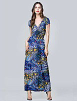 Women's Holiday / Plus Size Boho Swing Dress,Print Deep V Maxi Short Sleeve Blue Cotton / Polyester Summer