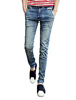 Men's Casual Slim Stretch Edging Bleached Jeans,Cotton / Polyester / Spandex Casual / Plus Sizes