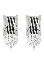Women's European Style Fashion Sweet Simple Zircon Metal Stud Earrings