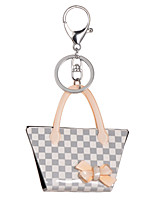 2015 New Fashion Lattice Key Chain Women Acrylic Grey Rhinestone Ladies Keyrings