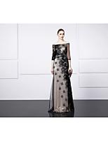 Formal Evening Dress - Black A-line Bateau Floor-length Satin / Tulle