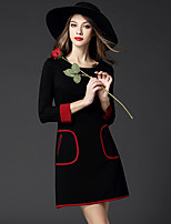 BOMOVO® Women's Round Neck 3/4 Length Sleeve Knee-length Dress-B15QQT6