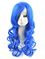 High Quality Natural Long Curly Bule Color Synthetic Wig For White Women