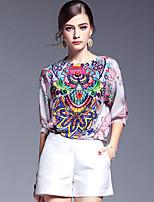 AFOLD® Women's Round Neck Short Sleeve Shirt & Blouse Multi-5612
