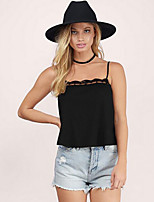 Women's Patchwork Lace Hollow Out  Chiffion All Match Backless Tanks,Strap Sleeveless