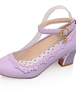 Women's Shoes PU Summer/ Round Toe Heels Office & Career / Casual Chunky Heel Buckle Black / Pink / Purple / Almond