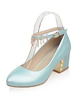 Women's Heels Summer / Fall Comfort / Pointed Toe PU Office & Career / Casual Chunky Heel Sparkling Glitter / Buckle Blue / Pink / White