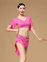 Belly Dance Outfits Women's Training Modal 2 Pieces Dark Green / Fuchsia / Light Gray / Dark Blue Short Sleeve Dropped