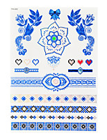 1pc Flash Metallic Waterproof Tattoo Blue Gold Silver Lace Flower Diamond Temporary Tattoo Sticker BYH-002