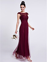 Lanting Bride Ankle-length Lace / Tulle Bridesmaid Dress Sheath / Column Bateau with Lace