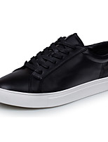 Men's Shoes Synthetic Casual Flats Casual Walking Flat Heel Black / White