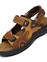 sapatos masculinos ao ar livre / de escritório&carreira / Atlético / vestido / casuais sandálias de couro nappa marrom