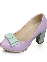 Women's Shoes Patent Leather Summer/ Round Toe Heels Office & Career / Casual Chunky Heel Bowknot Pink / Purple / Beige