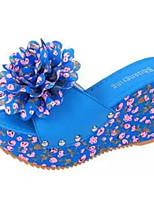Damen-Sandalen-Lässig-Schweineleder-Keilabsatz-Sandalen-Blau / Beige