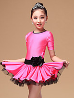 Latin Dance Dresses Children's Performance Nylon / Tulle Sash/Ribbon 3 Pieces Black / Fuchsia / Blue Short Sleeve