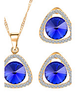 Blue Crystal Hollow Triangle Pendant Necklace +Earrings Jewelry Sets