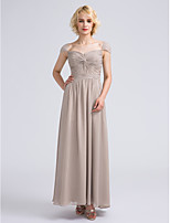 Ankle-length Chiffon Bridesmaid Dress Sheath / Column Sweetheart with Beading / Criss Cross