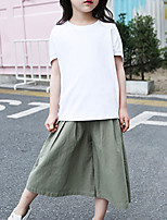 Girl's Casual/Daily Solid Pants,Cotton Summer Black / Green