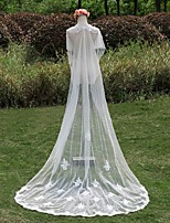 Wedding Veil One-tier Cathedral Veils Lace Applique Edge / Pearl Trim Edge Lace White White