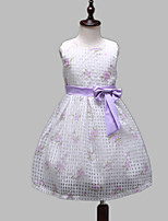 Girl's Purple / White Dress,Print Cotton / Polyester All Seasons