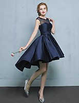 Asymmetrical Satin Bridesmaid Dress A-line Jewel with Appliques
