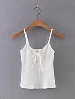 Women's Casual/Daily Sexy Summer Tank Top,Solid Strap Sleeveless Pink / White / Black / Gray Cotton / Linen Thin
