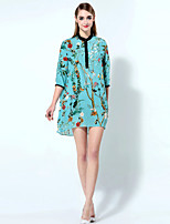 Boutique S Women's Going out Sophisticated Swing Dress,Print Round Neck Above Knee ¾ Sleeve Blue Silk Summer