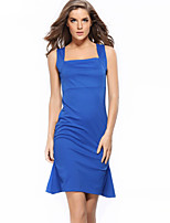 Women's Club Sophisticated Shift Dress,Solid Strap Above Knee Sleeveless Blue / White / Black Polyester All Seasons