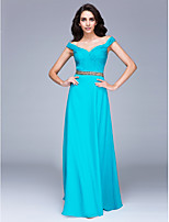 TS Couture® Formal Evening Dress Sheath / Column Off-the-shoulder Floor-length Chiffon with Side Draping / Sequins