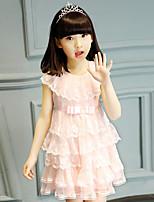 Linha A Curto / Mini Vestido para Meninas das Flores - Algodão / Renda / Tule Sem Mangas Decorado com Bijuteria com Laço(s) / Bordado