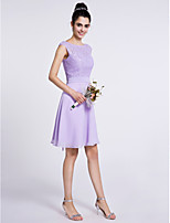 Lanting Bride Knee-length Chiffon / Lace Bridesmaid Dress A-line Scoop with Lace