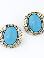 Earring Oval Stud Earrings Jewelry Women Vintage Party / Daily / Casual Alloy / Resin 1 pair Bronze / Blue