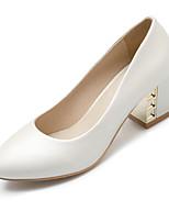 Women's Heels Summer / Fall Comfort / Round Toe PU Office & Career / Casual Chunky Heel Crystal Blue / Pink / White
