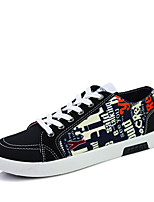 Men's Flats Spring / Fall Round Toe Fabric Athletic Flat Heel Lace-up Black / Blue / Red Sneaker