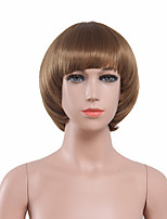 Capless Brown Color High Quality Natural Short Straight Synthetic Wig