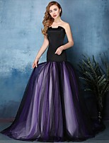 Formal Evening Dress Fit & Flare Notched Sweep / Brush Train Tulle with Pleats