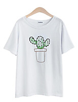 Women's Casual/Daily Simple Summer T-shirt,Jacquard Round Neck ½ Length Sleeve Blue / Pink / White Cotton Medium