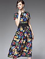 AFOLD® Women's Round Neck Short Sleeve Midi Dress-5551