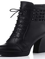 Women's Shoes Leather Spring / Fall / Winter Combat Boots Boots Outdoor Chunky Heel Zipper Black / Red