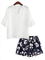 Tee-shirt Aux femmes,Couleur Pleine Décontracté / Quotidien Vintage / Chic de Rue Eté Manches ¾ Col en V Blanc / Noir Polyester Opaque