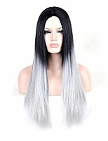 Top Grade Black Grey Color Straight Synthetic Wigs