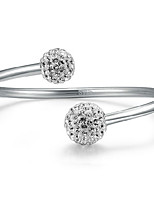 Fine Silver 925 Crystal Ball Adjustable Cuff Bangle Bracelet Jewerly for Lady